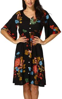 ANBOO Women's Boho Button up Split Floral Print Flowy Party Dress (, M)