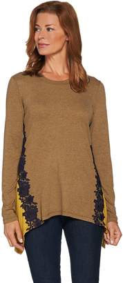 Logo By Lori Goldstein LOGO Lounge by Lori Goldstein Knit Top with Godets and Contrast Lace