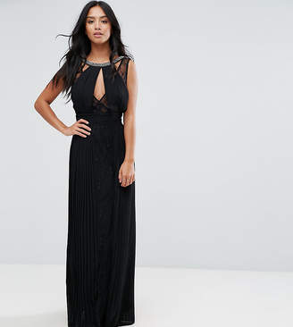 TFNC Petite High Neck Embellished Maxi Dress With Lace Insert
