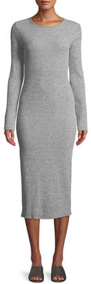 Vince Long-Sleeve Ribbed Knit Crewneck Midi Dress