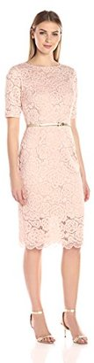 Ellen Tracy Women's 3/4 Sleeved All Over Lace Dress with Self Belt $148 thestylecure.com