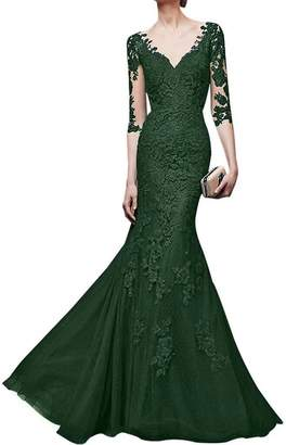 DINGZAN Mermaid Lace Applique Mermaid Mother of the Bride Dress with Half Sleeves