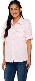 Nobrand NO BRAND Susan Graver Peachskin Solid Roll Tab Shirt