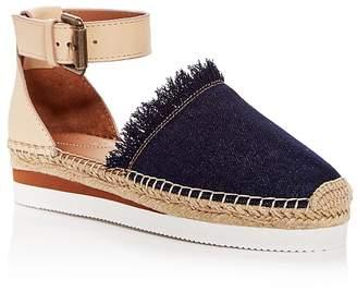 See by Chloe Women's Leather & Denim Fringe Platform Sandals