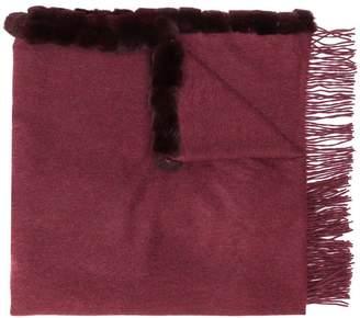 N.Peal fur-trim oversized scarf