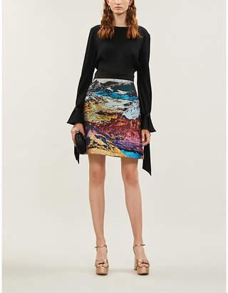 Mary Katrantzou Ligretto tied-cuff crepe and metallic jacquard mini dress