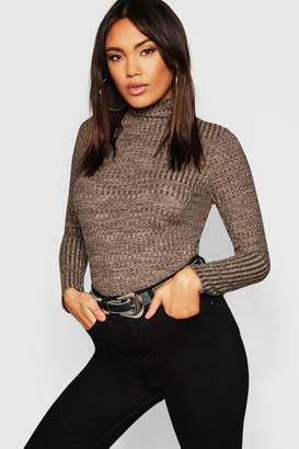 boohoo Turtle Neck Rib Knit Top