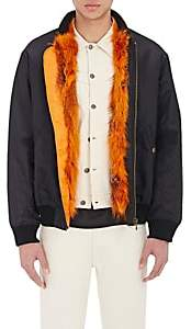 Mr & Mrs Italy Men's Fur-Lined Nylon Bomber Jacket - Blue