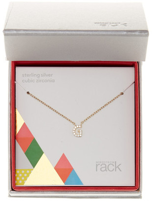 Nordstrom Rack Gold Plated Sterling Silver Pave CZ &G& Initial Pendant Necklace $15.97 thestylecure.com