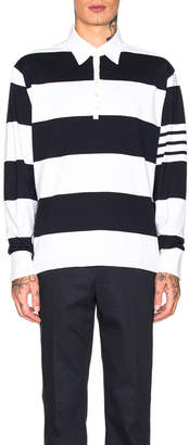 Thom Browne Oversized 4 Bar Rugby Polo in Navy | FWRD