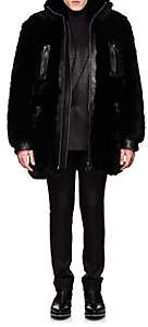 Givenchy Men's Leather-Trimmed Shearling Coat-Black