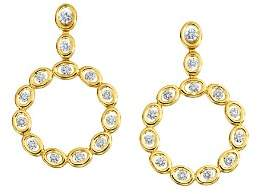 Oasis Gumuchian 18K Yellow Gold Diamond Circle Drop Earrings