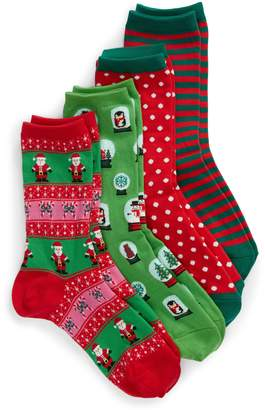 Hot Sox 4-Pack Holiday Snowglobes Socks