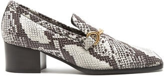 Python-effect faux-leather block-heel loafers