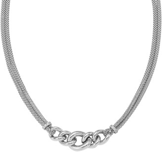 Italian Silver Mesh Necklace with Curb Link Station, 14.8g
