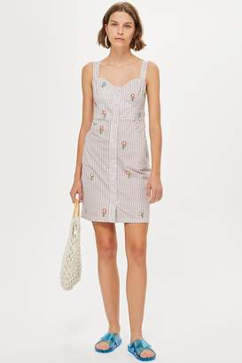 Topshop Gingham Embroidered Pinafore Dress