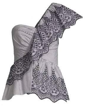 BCBGMAXAZRIA Embroidered One-Shoulder Top