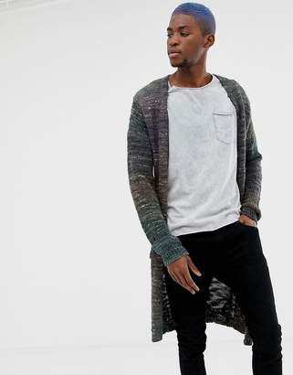 Asos Design DESIGN longline textured cardigan in navy space dye yarn