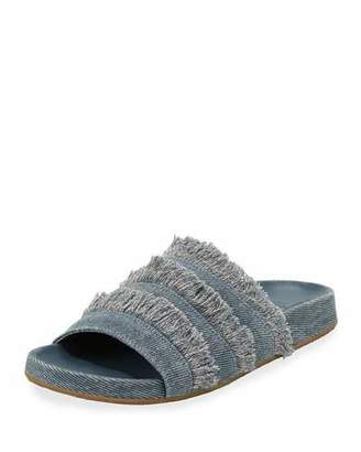 Joie Jaden Frayed Flat Slide Sandals, Dark Denim