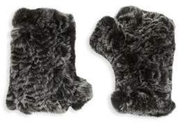 Saks Fifth Avenue BLACK Fingerless Rabbit Fur Texting Gloves