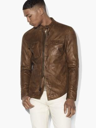 Burnished Leather Shirt Jacket $698 thestylecure.com