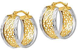 Italian Gold Two-Tone Lattice Oval Hoop Earrings, 14K