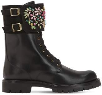 Rene Caovilla 30mm Swarovski Embellished Leather Boots