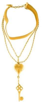 Karl Lagerfeld Heart Lock & Key Choker Multistrand Pendant Necklace