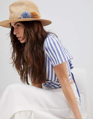 French Connection Straw Beach Trilby Hat With Braid Detail And Pom Poms