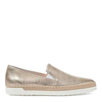 0caad84c0 Women s Gold Distressed Leather Slip On Espadrille Sneakers