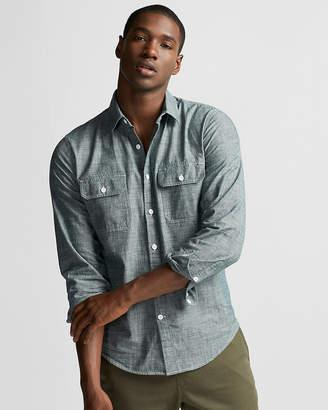 Express Slim Two Pocket Chambray Shirt