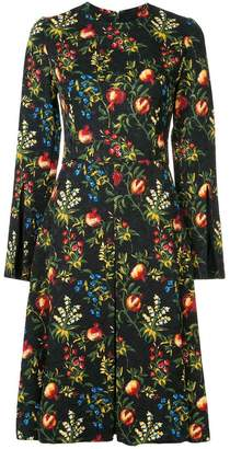 Oscar de la Renta Pomegranate Split-Sleeve dress