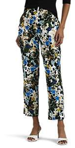 Erdem Women's Gianna Floral Slim Crop Trousers - White, Blue