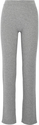 Theory - Goshun Ribbed Cashmere-blend Straight-leg Pants - Gray $495 thestylecure.com