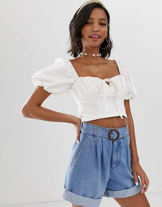 Asos Design DESIGN denim milkmaid crop top in white