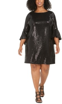 MSK Plus Size Sequinned Bell-Sleeve Dress