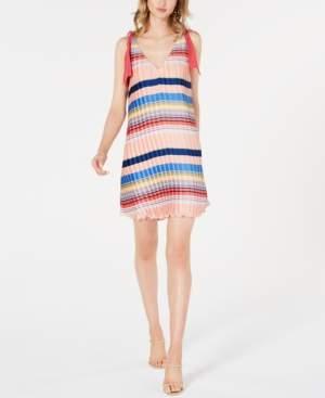 Foxiedox Striped Crinkle-Pleated Dress