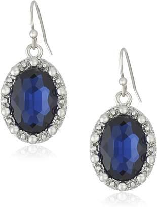 Michael Kors 1928 Jewelry Silver-Tone Blue Oval Drop Earrings