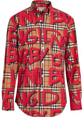 Burberry Graffiti Print Check Shirt