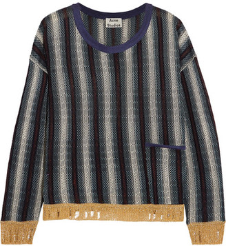 Acne Studios - Blanca Distressed Striped Knitted Sweater - Navy $480 thestylecure.com