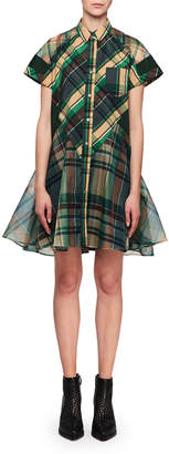 Sacai Short-Sleeve Check Flare Mini Dress