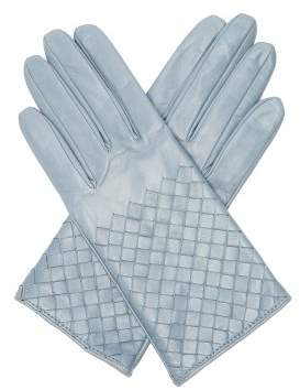 Bottega Veneta Intrecciato Leather Gloves - Womens - Light Blue