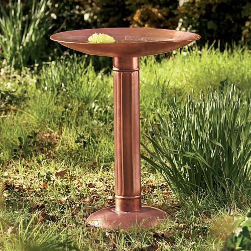Tall Copper Birdbath