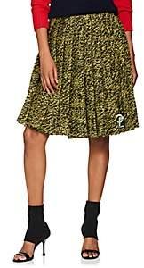 Prada Women's Pleated Wool Tweed Miniskirt - Yellow