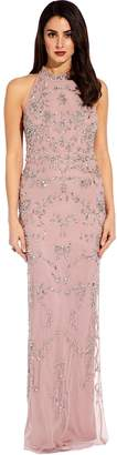 Adrianna Papell Dusted Petal Beaded Halter Dress