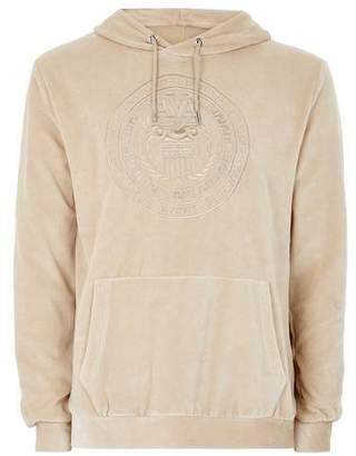 Topman Mens GOLD Stone Velour Embroidered Hoodie