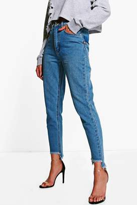boohoo Displaced Pocket Step Hem Mom Jeans