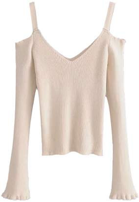 Goodnight Macaroon 'Cheyenne' Cold Shoulder Ribbed Knitted Top (2 Colors)