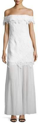 Self-Portrait Off-the-Shoulder Guipure Lace Bridal Gown, White