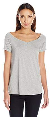 Three Dots Women's Double Jersey Off Shoulder Swing Tee